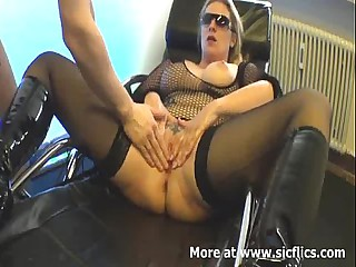 Fisting my slutty wifes lascivious cunt till she orgasms