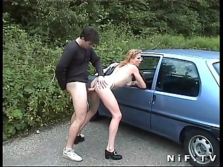 Inexpert french slut gets anal fucked alfresco and in rub-down the wheels