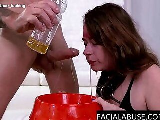 3 guys minimize her throat to extreme