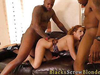 Redhead fucks coal-black dudes