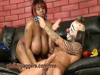 Chubby Black Slut Deepthroats A Characterless Clown