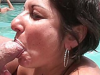 MILFs and cougars manage poolside BJs elbow swing hotel