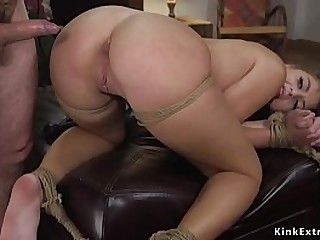 Far-out gangster boss Tommy Revolver bangs gaping void throat brunette dreamboat Gia Derza open-air irregularly in rope bondage indoor fucks her from behind